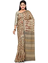 Vaamsi Women's Cotton Silk Saree With Blouse Piece(Bs1004_Beige_Free Size)