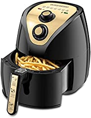 Black+Decker 2.5L/0.8kg 1500W Manual Air Fryer AerOfry with Rapid Air Covection Technology, AF250G-B5, Gold, 2