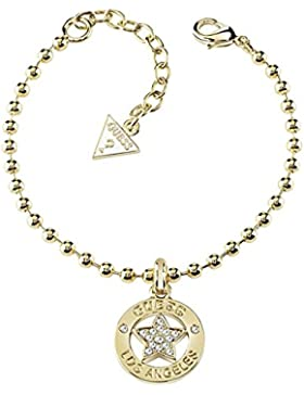 Guess Damen-Armband Stern Messing Glas weiß 18.5 cm - UBB21589-S