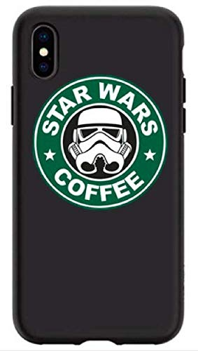 Art Design Hülle für iPhone XR Starbucks Coffee Star Wars Dark Vador Schwarz et Grün Café Soft Silikon