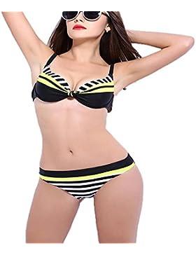 27c0ac3b0f9e Donne Costume uno Cuciture Piatte Pezzo Bikini, Sport Bulit a Bra Tazze  molli , blue