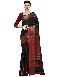 AppleCreation Women's Silk Saree With Blouse Piece (Linen Silk Sarees_Lnn113_Black)