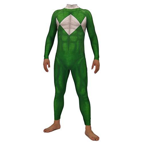 Kinder Kostüm Ranger Grün - Hope Power Rangers Erwachsene Kinder Anime Kleidung, Lycra Strumpfhosen Film Cosplay Kostüm Kostümfest Halloween Overall,Green-130~140 cm