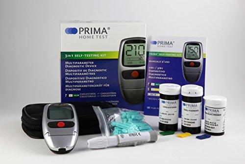 PRIMA 3in1 Messgerat (25 Cholesterol Streifen + 25 Trygliceride Streifen + 50 Glucose Streifen)