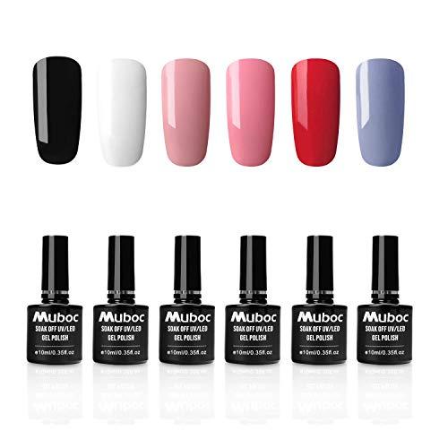 UV Nagellack Gel Nagellack UV für Nageldesign Nail Polish Maniküre Set Gel Farben Gellack 6 Stück 10ml von Muboc - Set001