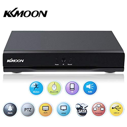 KKmoon - Digitaler Videorecorder mit Sicherheitssystem und P2P Bewegungserkennung - 4Kanäle, DVR, HDMI, H.264,CCTV - Überwachung über Computer oder Smartphone. -