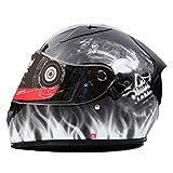 Full Face Tanked Motorradhelm, Double Lens Transparente Antifogging Helm, Herbst Winter Winddicht Sicherheitskappen 54-60 cm
