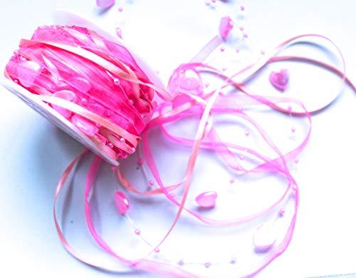 CaPiSo 10m Schleifenband mit Organza und 4mm Perlen,Perlenband,Geschenkband,Trendyband,Perlen am Band (Herz 12mm Neonrosa) (Herz Mit Band)