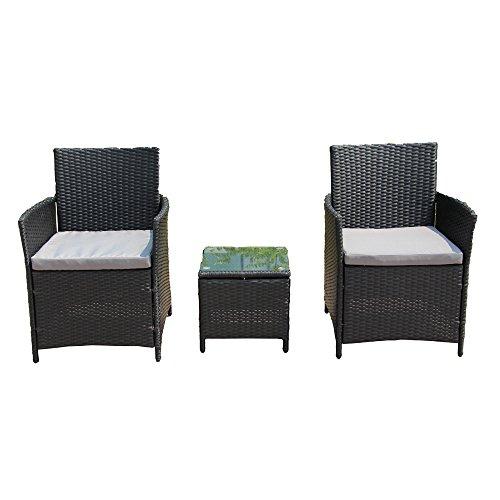 Aleko RTF006BK Rattanmöbel für Innen und Außen, 3-teilig, schwarz