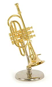Trompette miniature - Laiton couleur dorée - Objet de décoration - cadeau musique - Livré dans son coffret avec support - Hauteur 12 cm