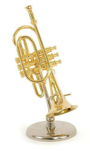 Tromba in miniatura - in ottone dorato - Oggetto di decorazione - regalo musica - Consegnata nel suo cofanetto con supporto - Altezza 12 cm