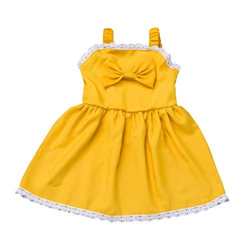 y Mädchen Fliegen Ärmel Rüschen Solid Print Kleid Kleidung Kleider Einfarbig Elegant Party Kleid Knopf Mode Prinzessin Kleid Tägliches Mini A-Linien Kleid ()