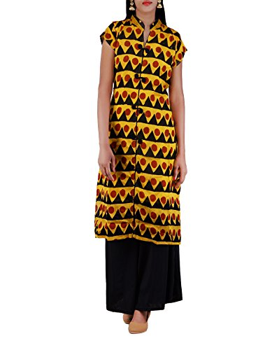 Unnati Silks Women Sloka Weaves Yellow Color Pure Handloom Chanderi Kurta