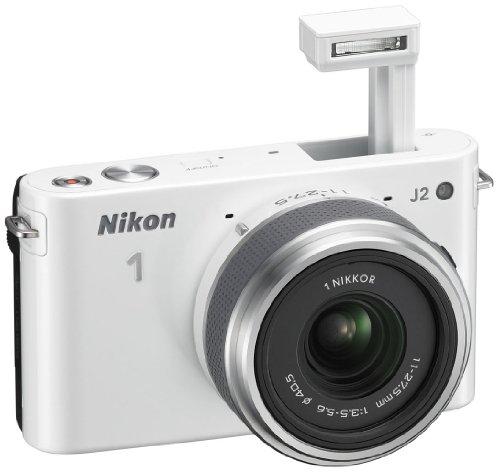 Nikon 1 J2 Systemkamera (10,1 Megapixel, 7,5 cm (3 Zoll) Display) Kit inkl. Nikkor 11-27,5 mm weiß - 5