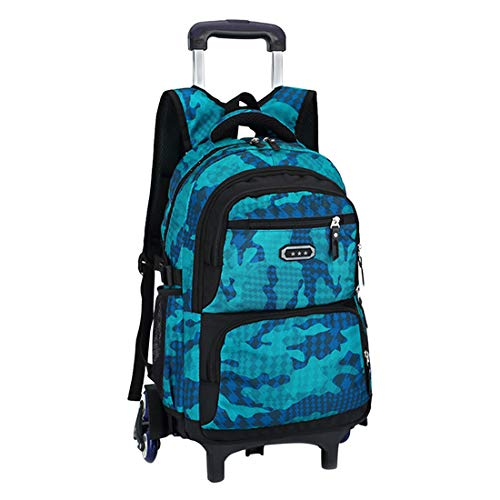 Kinder Kinderrucksack Handgepäck Rucksack für 8-12 Jahre alte Jungen - Camouflage Muster 6 Rollen Trolley Bag BESBOMIG
