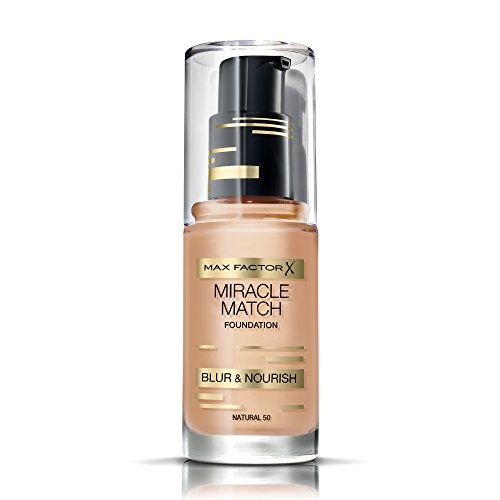 Match Liquid Foundation (Max Factor Miracle Match Foundation Natural 50 - Flüssig Foundation mit Weichzeichner-Effekt - Passt sich jedem Hautton an - 1 x 30 ml)