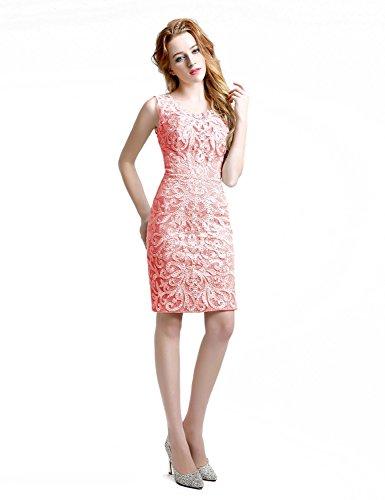 Sarahbridal Damen Schlauch Kleid Korallenrot