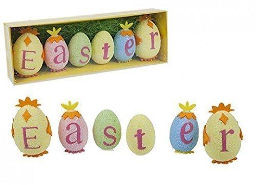 Pms 6 easter decorato polistirene espanso uova spelling la parola easter con la pasqua erba