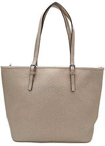 Damen Handtasche Schultertasche Shopper Uni Farbig Kunstleder A4 Format Gold