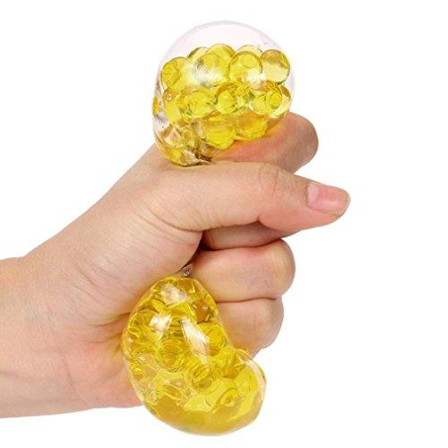 asongff Spongy Bead Stress Ball Spielzeug Squeezable Stress Squishy Spielzeug Stress Relief Ball Anti-Stress-Bälle für Kinder und Erwachsene (6cm, Gelb) (Party-galaxie-halloween-dekoration)