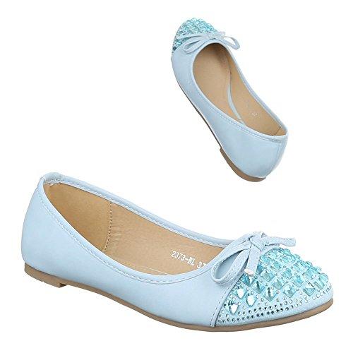 Damen Schuhe, 2373-BL, BALLERINAS SLIPPER Hellblau