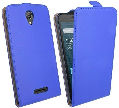 ENERGMiX Handytasche Flip Style kompatibel mit Alcatel Pixi 4 (5010D) 5.0 Zoll in Blau Klapptasche Hülle Flip-Cover