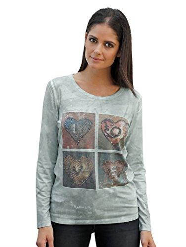 Damen Shirt mit Strasssteinchen im Vorderteil by AMY VERMONT mint mit Druck
