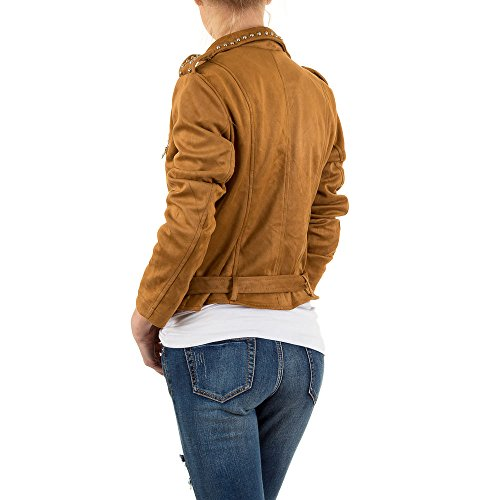 Lederoptik Nieten Biker Jacke Für Damen bei Ital-Design Braun