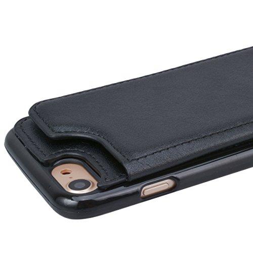 Cover per iPhone 7, VemMore Custodia Supporto Slot della Carta di Credito Case in Pelle Morbido PU & Durevole PC Portafoglio Caso di Inserto Card Nascosto Ultra Sottile Snap Professionale sul Copertur Nero