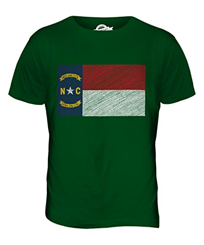 CandyMix Bundesstaat North Carolina Kritzelte Flagge Herren T Shirt Flaschengrün