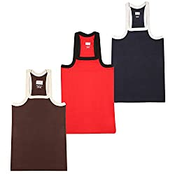 Wyatt Mens Cotton Gym Vest(1015_Brown-Red-Navy_XL)