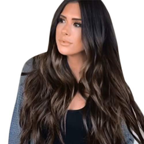 (QHJ Cosplay Rosen Perücke Für Frauen Lang Lockig Wllig Heiz resistent Glamourös Haarteil mit kostenlosen Perücke Kappe (Braun))