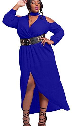 La Vogue Femme Robe Grande Taille Epaule Fendue Col V Africaine Bal Bleu