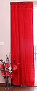 """Pure Silk Curtains, 40"""" (101 cm) Wide X 48"""" (122 cm) Long, Backed with Thick Satin Lining, Red Rod Top Dupioni Silk Curtain."""