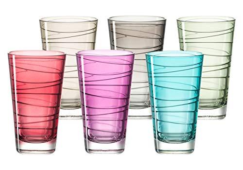 Leonardo Vario Struttura Becher groß farbig sortiert, 6-er Set, 280 ml, Kristall-Glas mit Colori-Hydroglasur, 047285 Farbige Gläser