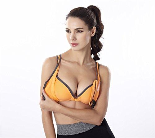 YeeHoo Stretch Workout Reggiseno anteriore della chiusura lampo Reggiseno sportivo Yoga Running Wear arancia