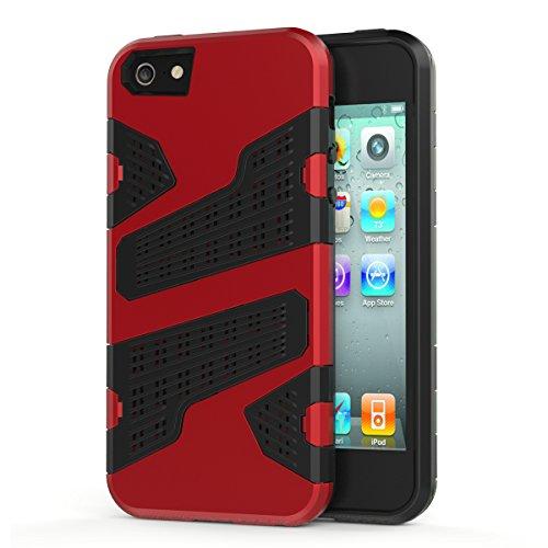 iPhone SE Hülle, HICASER Hybrid Shock Proof TPU Case Mesh PC Bumper Frame Handytasche Schutzhülle für iPhone SE / 5s / 5 Silber Rot