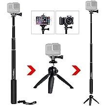 """Palo Selfie Stick Luxebell Monopod de Telescópico con Soporte del Trípode para Gopro Hero4, Hero3+ Hero3, Hero+ LCD, Session Camera y Agujero roscado de 1/4 """" Compacta Cámaras y Teléfonos Móviles - Negra"""