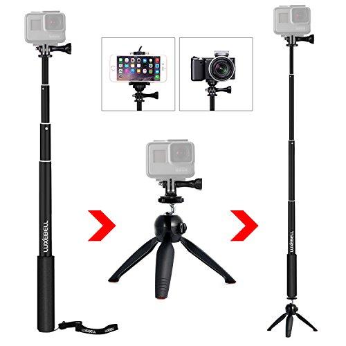 Luxebell® - Bastone per selfie, monopiede 102,9 cm per smartphone, GoPro Hero 1 2 3 3 + 4 e altre Action Camera (otturatore bluetooth solo per smartphone)