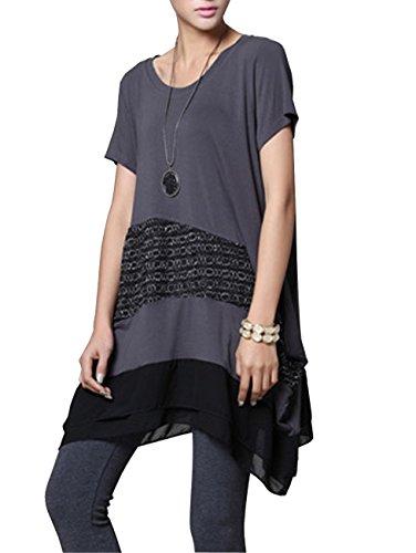 ELLAZHU Femme Epissure Dentelle Agrémenté Manche Courte Shirt Robe DY10 Gris