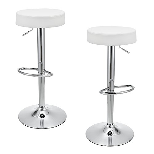 [en.casa] Juego de 2 taburetes de bar ronda - blanco (regulable en altura - ajustable)