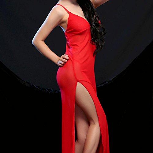 YunYoud Frau Mode Unterwäsche Neue Kleider Cheongsam Kleider Großer Rock Rot