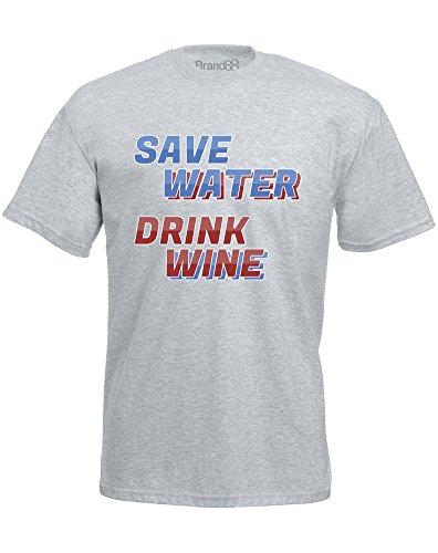Brand88 - Save Water, Drink Wine, Mann Gedruckt T-Shirt Grau/Transfer