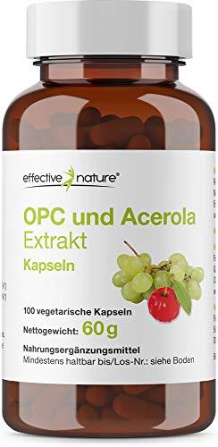 effective nature OPC und Acerola Extrakt mit natürlichem Vitamin C aus der Acerola Kirsche - 100 Vegane Kapseln -