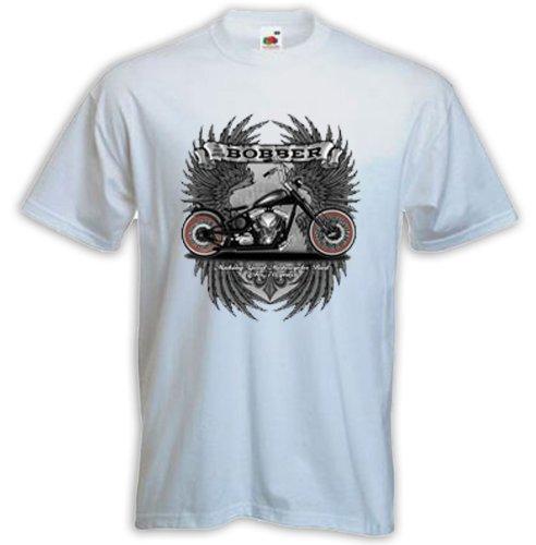Biker T-Shirt Bobber Motorcycle weiß Chopper Ace US Bike Kustom Weiß