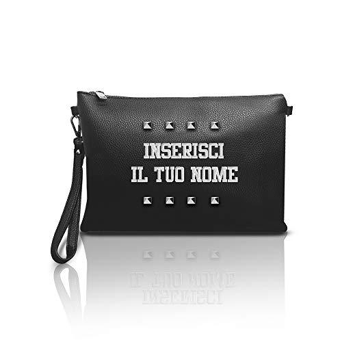 CustoMy Pochette donna con borchie personalizzabile con ricamo del nome ed iniziali in eco pelle sintetica