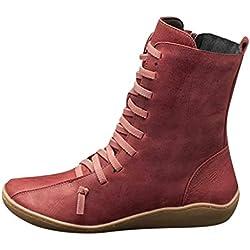 Luckycat Botines de Cuero Otoño Vintage con Cordones Zapatos de Mujer Botas cómodas de tacón Plano Cremallera Bota Alto Botas de Apoyo de Arco 2019 para Mujeres