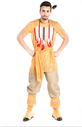 Kostüme Paar Männliche (DLucc Neue Kleider Halloween Kleidung männlichen indischen hunter geladen ein paar einheimischen Griechen Cosplay)