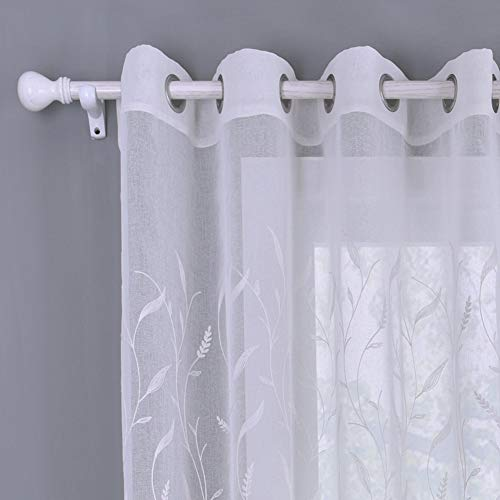 BAIVIT Stickerei Gardinen, Voile Vorhänge Semi Transparent Super Soft Dekorative Ösen Net Durchsichtig Gardinenschals, 2er Set,Leaves,140x260cm