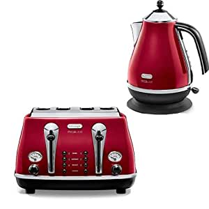 Delonghi micalite 4 slice toaster red ctom4003r with for Kitchen set kettle toaster